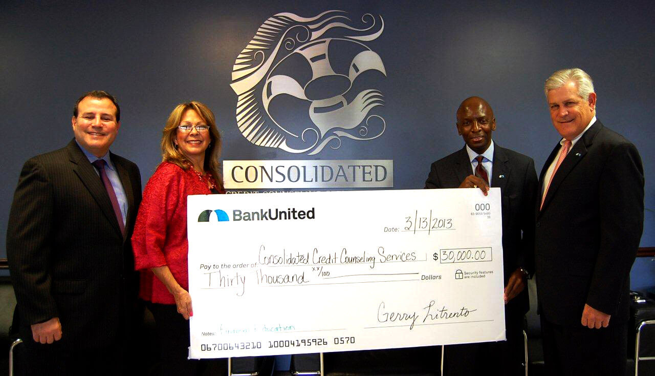BankUnited grants $30,000 to Consolidated Credit to provide financial education to home buyers and homeowners.