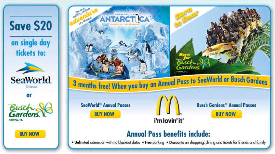 Save 20 off seaworld or busch gardens tickets miss money bee Busch gardens pass member benefits